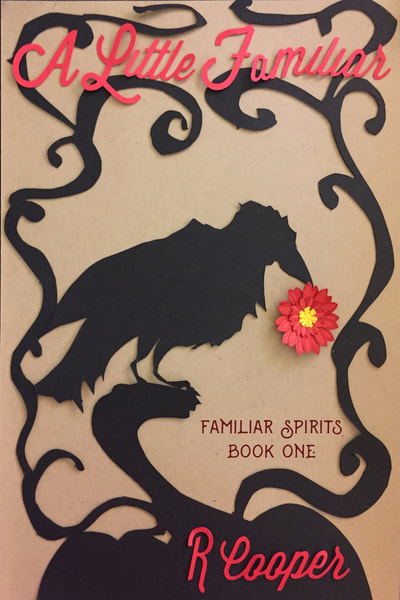 Cover for A Little Familiar. A raven perched on a pumpkin holds a small red flower in its beak.