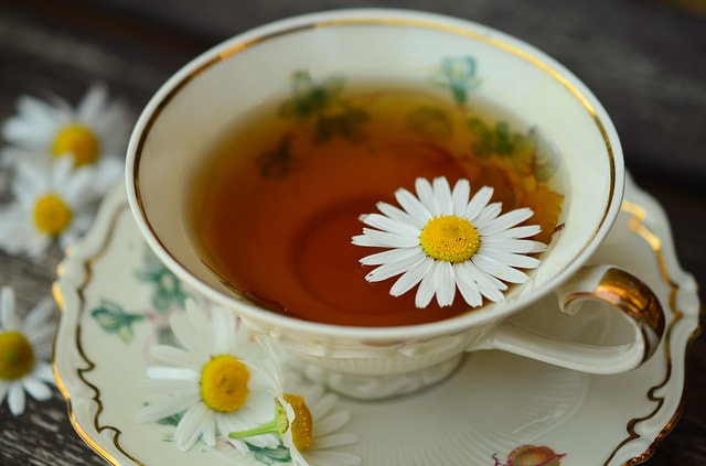 A porcelain cup and saucer of chamomile tea, with daisies strewn around it.