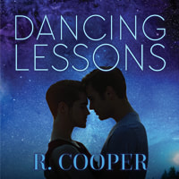 Small version of the Dancing Lessons cover. Two men embracing, foreheads touching but not kissing, with a starry sky above them.