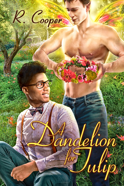 Cover for A Dandelion for Tulip. A fairy is about to place a flower crown on the head of the man he loves.