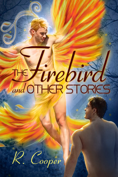 Cover for The Firebird and Other Stories. A man with glasses in the foreground is gazing up at a man with large red-gold wings.