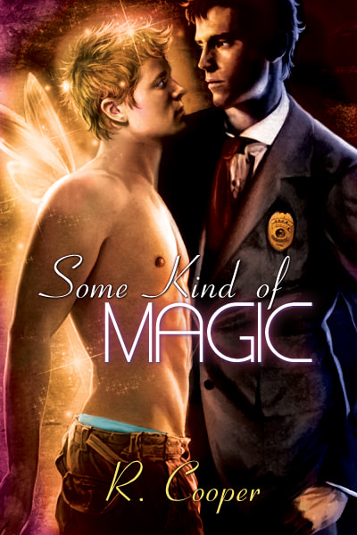 Cover for Some Kind of Magic. A large man--a police detective--standing close to a smaller, delicate fairy.