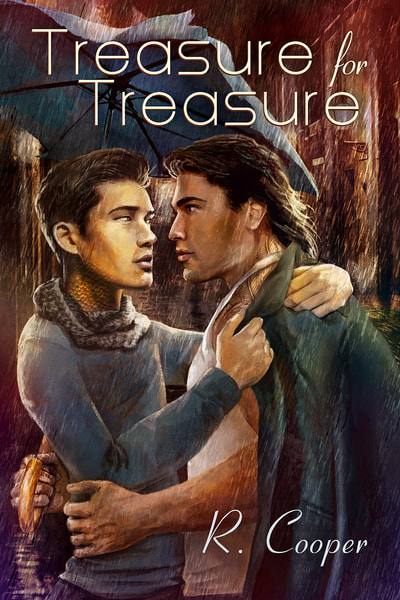 Cover for Treasure for Treasure. Two men under an umbrella in the rain. One is trying to put a coat on the other one.